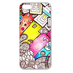 Beautiful Colorful Doodle Apple Seamless Iphone 5 Case (clear)