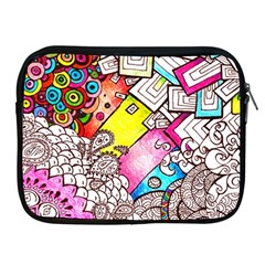 Beautiful Colorful Doodle Apple Ipad 2/3/4 Zipper Cases by Nexatart