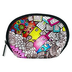 Beautiful Colorful Doodle Accessory Pouches (medium)  by Nexatart