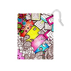 Beautiful Colorful Doodle Drawstring Pouches (medium)  by Nexatart