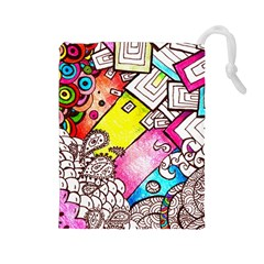 Beautiful Colorful Doodle Drawstring Pouches (large)  by Nexatart