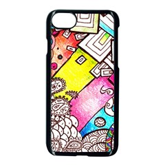 Beautiful Colorful Doodle Apple Iphone 7 Seamless Case (black)