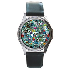 Colorful Drawings Pattern Round Metal Watch