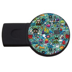 Colorful Drawings Pattern Usb Flash Drive Round (4 Gb) by Nexatart