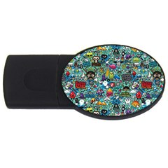 Colorful Drawings Pattern Usb Flash Drive Oval (4 Gb)