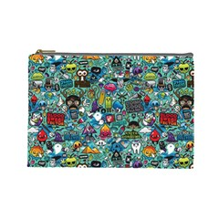 Colorful Drawings Pattern Cosmetic Bag (large)