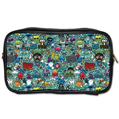 Colorful Drawings Pattern Toiletries Bags 2 Side by Nexatart
