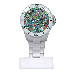 Colorful Drawings Pattern Plastic Nurses Watch by Nexatart