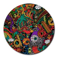 Monsters Colorful Doodle Round Mousepads by Nexatart