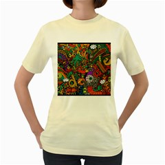 Monsters Colorful Doodle Women s Yellow T Shirt by Nexatart