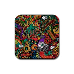 Monsters Colorful Doodle Rubber Coaster (square)