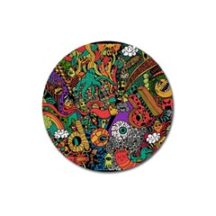Monsters Colorful Doodle Magnet 3  (round) by Nexatart