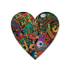 Monsters Colorful Doodle Heart Magnet by Nexatart