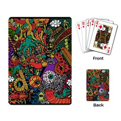 Monsters Colorful Doodle Playing Card by Nexatart