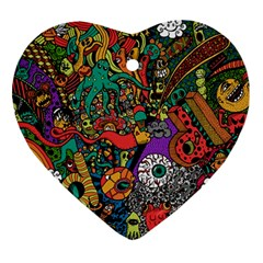 Monsters Colorful Doodle Heart Ornament (two Sides)