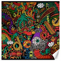 Monsters Colorful Doodle Canvas 16  X 16   by Nexatart