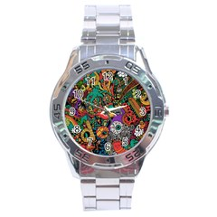 Monsters Colorful Doodle Stainless Steel Analogue Watch by Nexatart