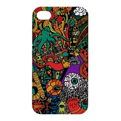 Monsters Colorful Doodle Apple Iphone 4/4s Premium Hardshell Case