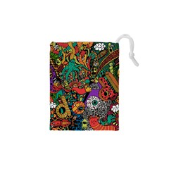 Monsters Colorful Doodle Drawstring Pouches (xs)  by Nexatart