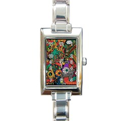 Monsters Colorful Doodle Rectangle Italian Charm Watch by Nexatart