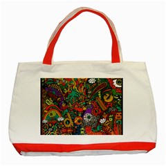 Monsters Colorful Doodle Classic Tote Bag (red)