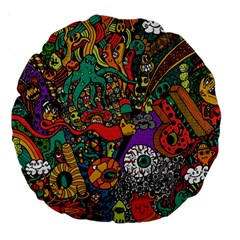 Monsters Colorful Doodle Large 18  Premium Round Cushions by Nexatart