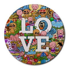 Doodle Art Love Doodles Round Mousepads by Nexatart