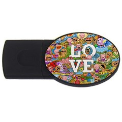 Doodle Art Love Doodles Usb Flash Drive Oval (4 Gb) by Nexatart