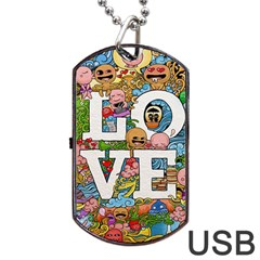 Doodle Art Love Doodles Dog Tag Usb Flash (two Sides) by Nexatart