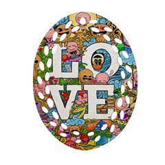 Doodle Art Love Doodles Oval Filigree Ornament (two Sides) by Nexatart
