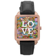 Doodle Art Love Doodles Rose Gold Leather Watch  by Nexatart