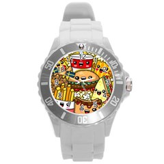 Cute Food Wallpaper Picture Round Plastic Sport Watch (l) by Nexatart