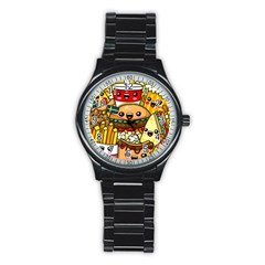 Cute Food Wallpaper Picture Stainless Steel Round Watch by Nexatart