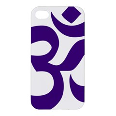 Hindu Om Symbol (purple) Apple Iphone 4/4s Premium Hardshell Case by abbeyz71
