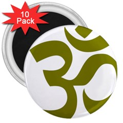Hindi Om Symbol (olive) 3  Magnets (10 Pack)  by abbeyz71