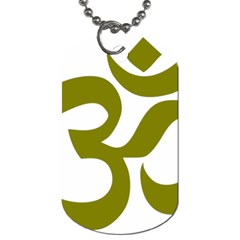Hindi Om Symbol (olive) Dog Tag (one Side) by abbeyz71