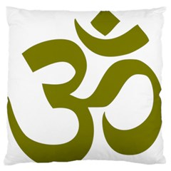 Hindi Om Symbol (olive) Standard Flano Cushion Case (one Side) by abbeyz71