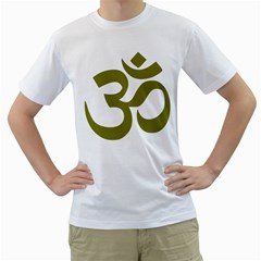 Hindu Om Symbol (olive) Men s T-shirt (white) (two Sided) by abbeyz71