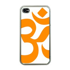 Hindu Om Symbol (orange) Apple Iphone 4 Case (clear) by abbeyz71