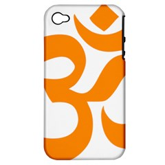 Hindu Om Symbol (orange) Apple Iphone 4/4s Hardshell Case (pc+silicone) by abbeyz71