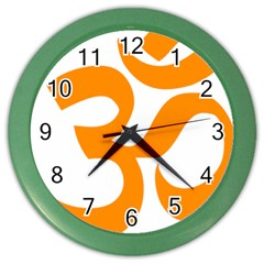 Hindu Om Symbol (orange) Color Wall Clocks by abbeyz71
