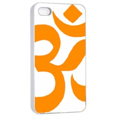 Hindu Om Symbol (orange) Apple Iphone 4/4s Seamless Case (white) by abbeyz71