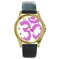 Hindu Om Symbol (bright Purple) Round Gold Metal Watch by abbeyz71