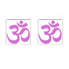 Hindu Om Symbol (bright Purple) Cufflinks (square) by abbeyz71