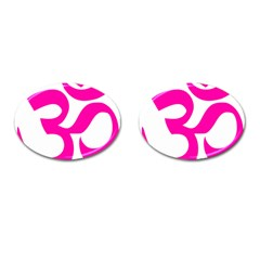 Hindu Om Symbol (pink) Cufflinks (oval) by abbeyz71