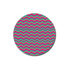 Retro Pattern Zig Zag Rubber Coaster (round)