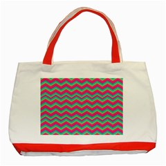 Retro Pattern Zig Zag Classic Tote Bag (red) by Nexatart