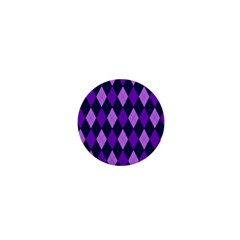 Static Argyle Pattern Blue Purple 1  Mini Buttons by Nexatart