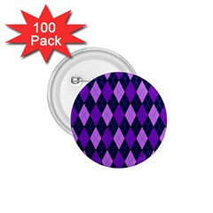 Static Argyle Pattern Blue Purple 1 75  Buttons (100 Pack)  by Nexatart