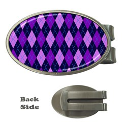 Static Argyle Pattern Blue Purple Money Clips (oval)  by Nexatart